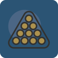 Graphic of golden snooker balls on blue