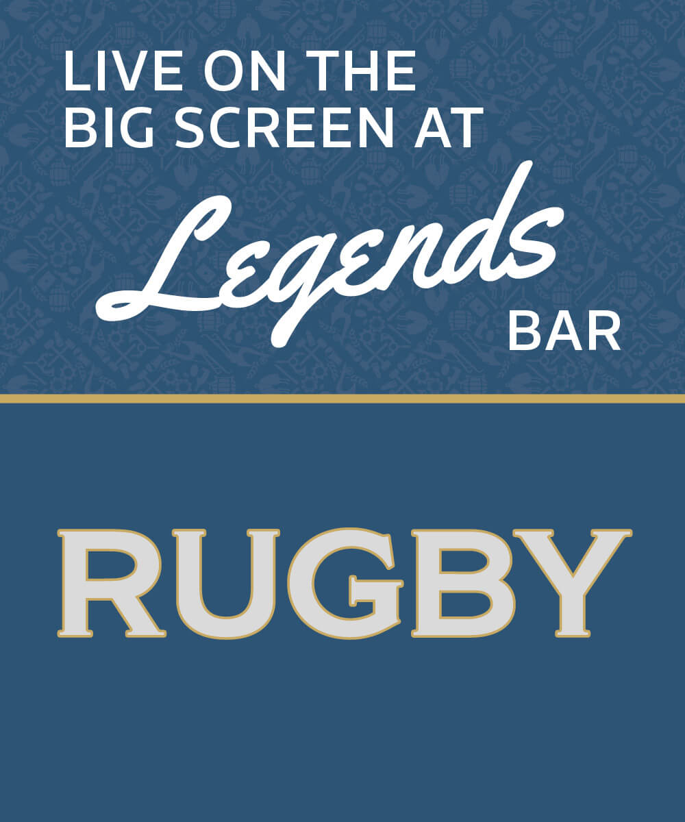 Live on the big screen at Legends Bar, Rugby at Hornby Club